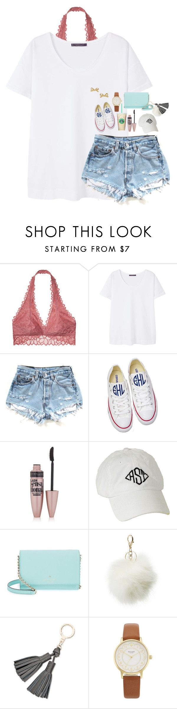 """Contest day 4// shopping"" by pandapeeper ❤ liked on Polyvore featuring Victoria's Secret, MANGO, Converse, Maybelline, Kate Spade, Charlotte Russe and lucysbeachcontest"