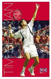 Tim Henman Poster  This licensed Tim Henman poster from TL Posters shows ATP Tour star Tim Henman in action as he prepares to make a slamming serve. The backdrop of the poster shows a representation of the English flag and a crowd of Henman`s supporters. The red, white, and blue color contrasts really make the center image pop out and gives a very dramatic effect. Show your support and dedication to Tim Henman and the game of tennis by purchasing this poster today!  Dimensions: W22` x…