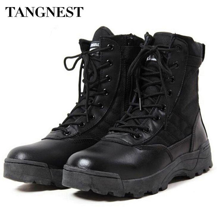 Tangnest Men's Desert Boots 2017 New Tactical Combat Boots Autumn Men Fashion High-top Shoes Footwear Man Big Size 39~45 XMX285