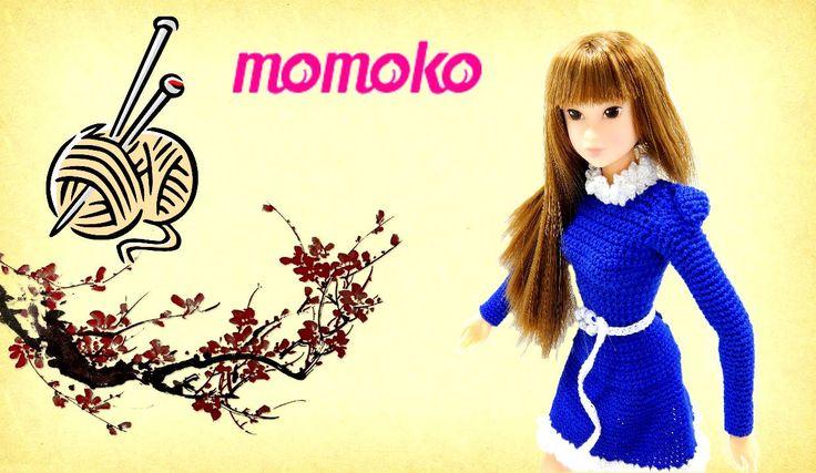 Doll knitting blue dress for Momoko