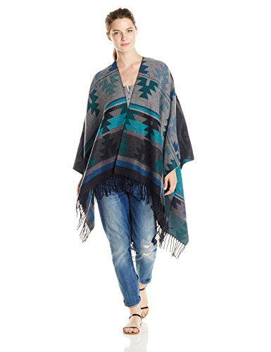 Angie Junior's Aztec Blanket Poncho Printed Sweater, Teal, One Size