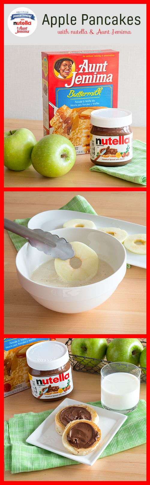 This International Pancake Tuesday, add some apple to your Aunt Jemima® batter for pancakes with punch! Cut your apple into rings then dip them into your pancake mix. Grease your pan and place your battered apple slice on your griddle. Flip when bubbles begin to form, about two minutes. Cook for another minute and plate. Serve with a spread of Nutella®.