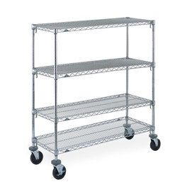 "Metro A336BC Super Adjustable Chrome 4 Tier Mobile Shelving Unit with Rubber Casters - 18"" x 36"" x 69"""