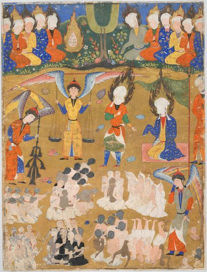 Day of Judgment, folio from a manuscript of the Falnama (Book of Omens) of Ja far al-Sadiq Persian, 16th century Safavid period Creation Place: Tabriz, Iran Opaque watercolor and gold on paper sight: 58.5 x 43.7 cm (23 1/16 x 17 3/16 in.) Harvard Art Museums