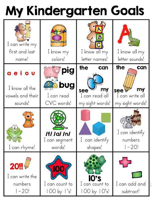 Colors and Kindergarten: Kindergarten Goals
