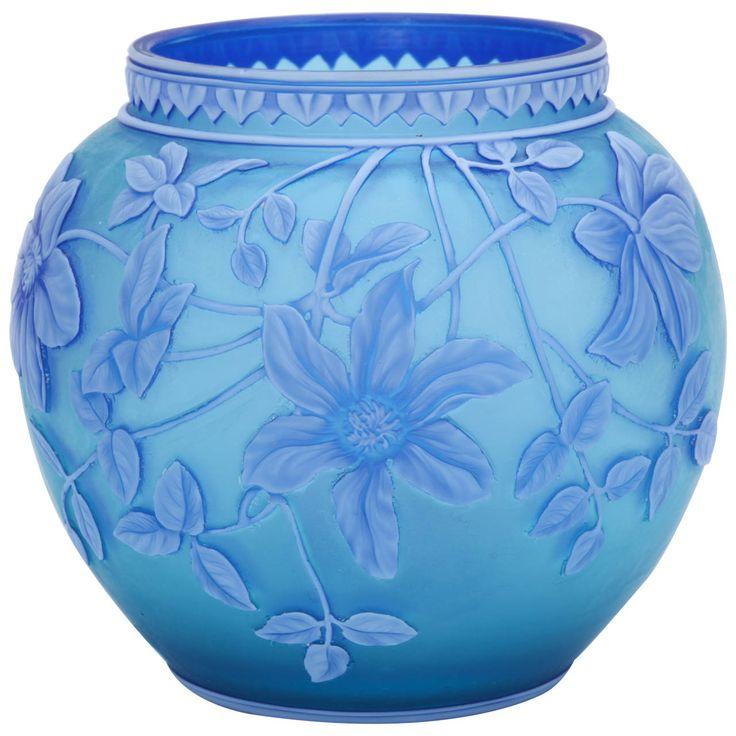 A Fine Signed Thomas Webb & Sons Three Color Cameo Glass Vase. Circa 1890-1900