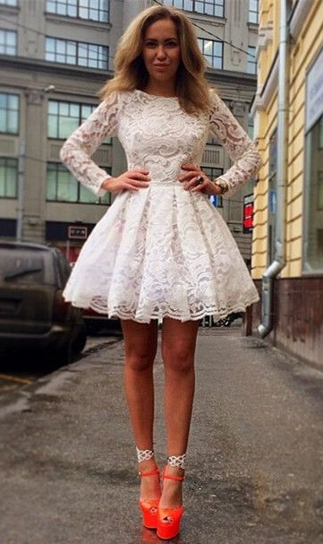 $89A-Line Long Sleeve Lace Homecoming Dresses White Short Cocktail Dresses                                                                                                                                                      More