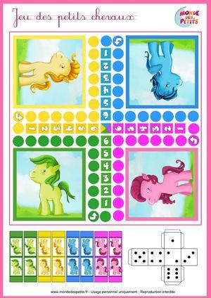 Paardenspel, free printable / Le jeu des petits chevaux