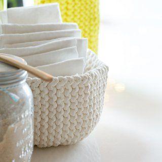DIY déco: tricoter une corbeille - Marie Claire Idées