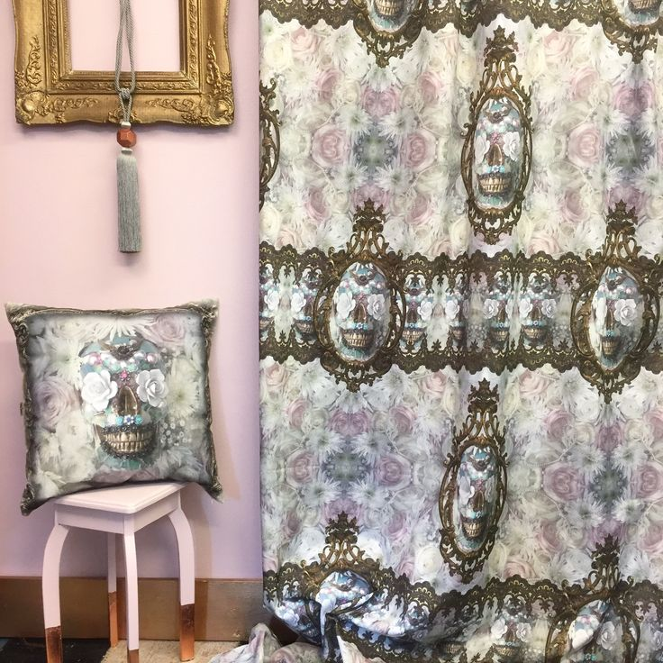 PAle Sugar Skull fabric and cushion by Van Asch