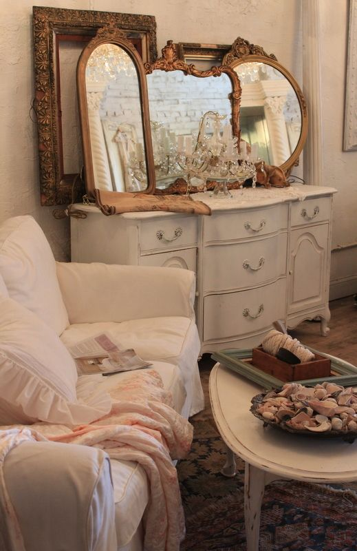 like the vintage mirrors on the dresser. Redoing all her furniture similar to this