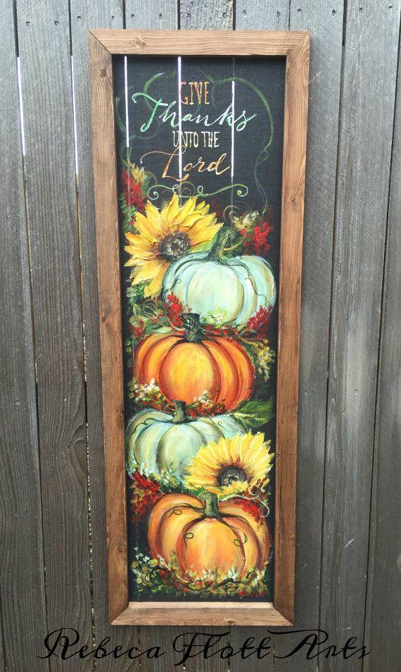 Pumpkin signFall decorGive Thanks unto the by RebecaFlottArts