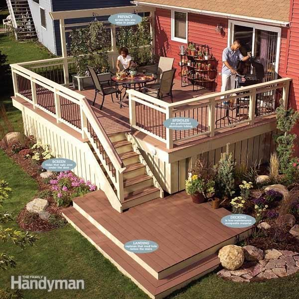 An old deck with a sound structure doesn't have to be torn down.  You can remove the worn out decking and railing, and then replace it with new, low-maintenance decking and railing – a brand-new deck for a lot less money.