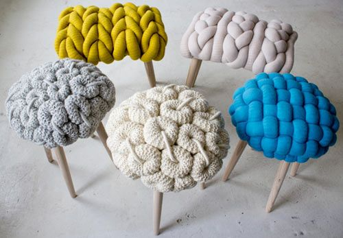 Textile designer Claire-Anne O'Brien was inspired by the actual knitted stitches themselves and created them in large-scale to produce these stools with a modern twist.