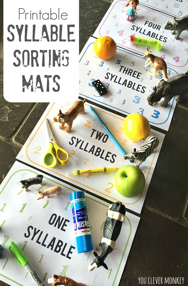 Printable Syllable Sorting Mats - print your own numbered syllable sorting mats to use at home or in the classroom with your preschooler to sort objects according to their number of syllables | you clever monkey
