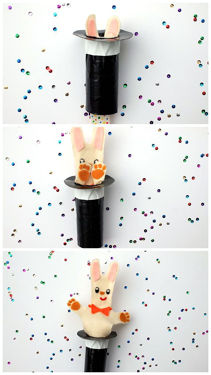 DIY Recycled Pop-Up Magic Rabbit Puppet