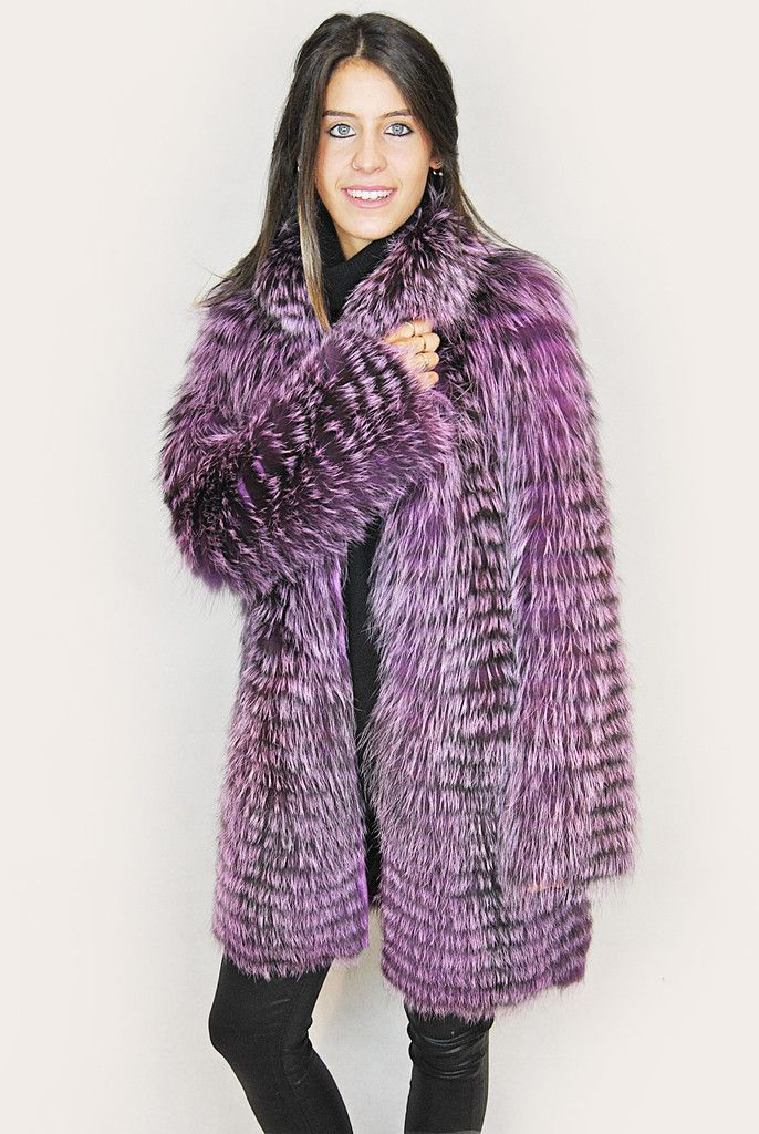 JESSIMARA PURPLE SILVER FOX FUR COAT
