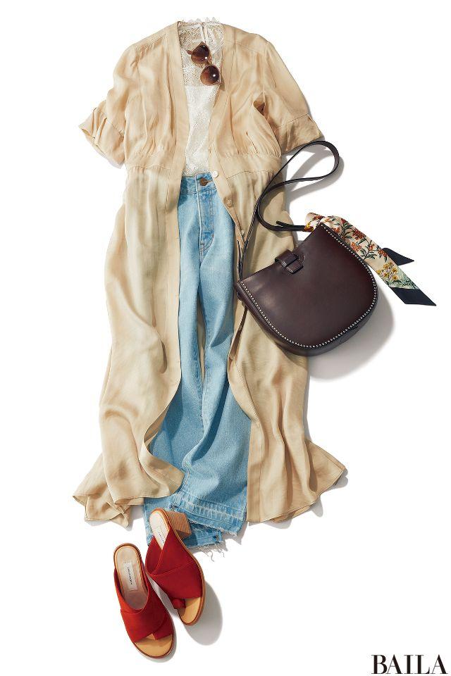 今っぽいコーディネートに挑戦したい金曜は、ボヘミアンスタイルをお試しあれ。ハイウエストのデニムに、白いレースブラウスを合わせ、ロングワンピースをはおれば、ヴィンテージ感漂う着こなしに。はおりを脱げば、きれいめカジュアルになるので、オフィスでも安心。シューズやバッグば、色や形や素材・・・