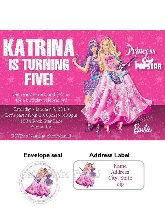 Barbie Princess and the PopStar Birthday by LuvCelebrationPatrol, $14.00