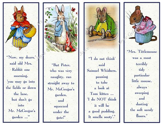 Printable Bookmarks Beatrix Potter Characters With Quotes Original Art Kids Party Favors