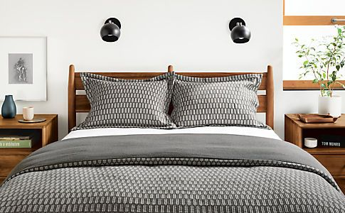 Sheffield Modern Duvet Cover & Shams in Charcoal - Modern Duvet Covers & Shams - Modern Home Decor - Room & Board