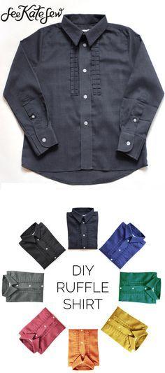 DIY ruffle shirt tutorial for BOYS! | kids clothing tutorials | sewing kids clothes | diy kids clothing | diy clothing for kids | sewing tutorials and tips | free sewing tutorials | sewing patterns for kids clothing || See Kate Sew