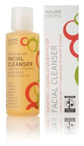 Acure Organics facial cleansing gel superfruit + chlorella growth factor