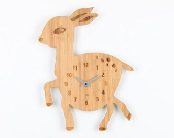 Bamboo Wood Kids Wall Clock - Deer