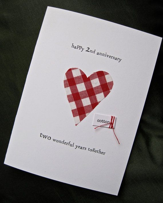 ... Anniversary Gifts, Card Ideas, 2Nd Wedding Anniversary Card, Cotton