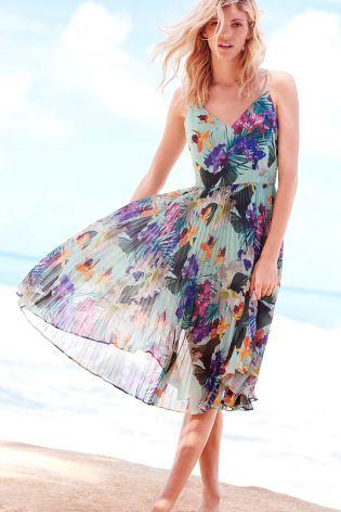 Plisowana sukienka o wzorze trpikalnym w kolorze miętowym Oasis