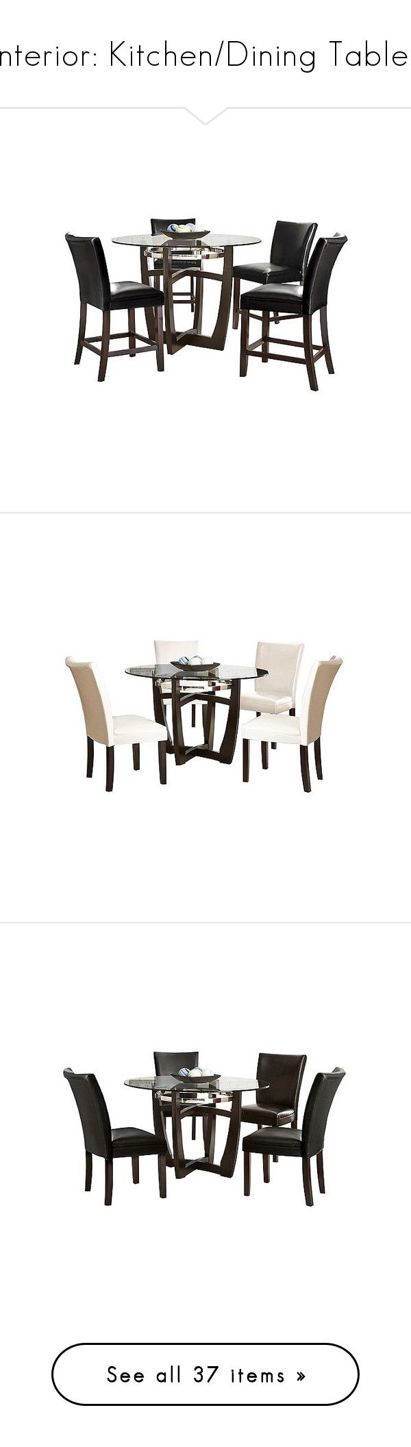 """""""Interior: Kitchen/Dining Tables"""" by jacci0528 ❤ liked on Polyvore featuring home, furniture, tables, dining tables, black, wood kitchen table, wood dining table set, black wood dining set, wood table and chairs and 5pc dining set"""