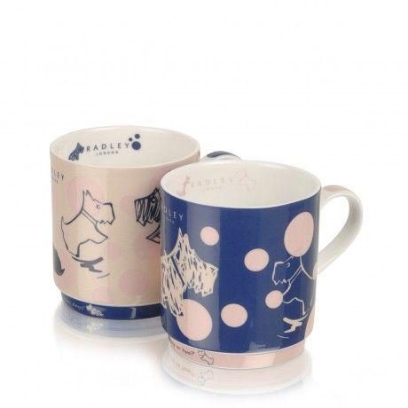 Cherry Blossom Dog,Mug Stacking Duo