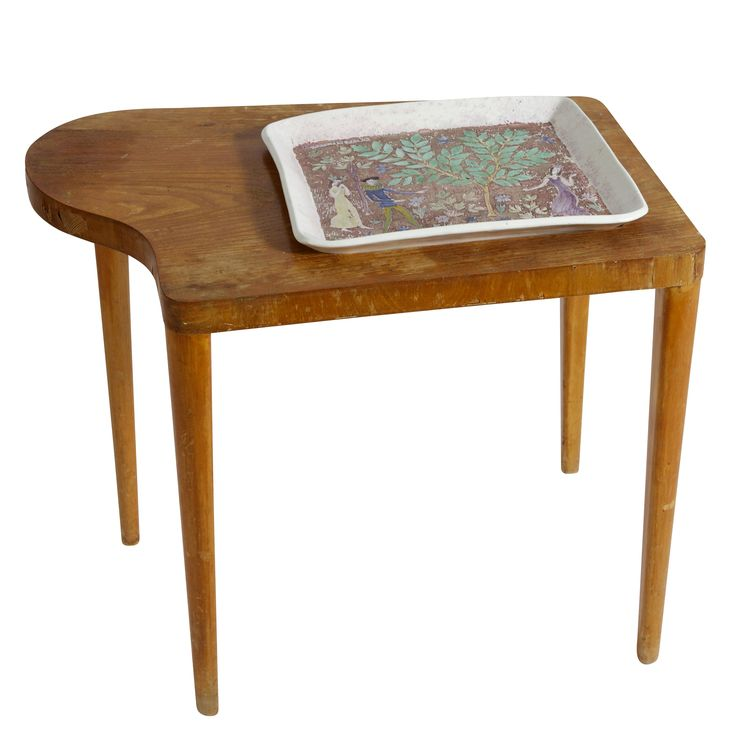 Birger Kaipiainen; Serving Table with Integrated Ceramic Tray for Arabia, 1943.