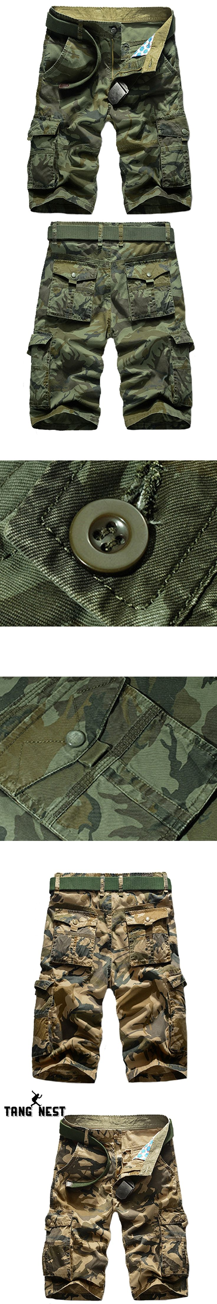 TANGNEST 2017 Men Casual Shorts Without Belt Multi-pocket Military Camouflage Men Shorts Hot Sale Good Quality Short MKD1051