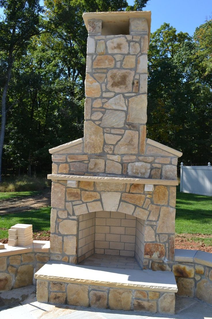 Always wonder how you can liven up your #backyard #patio? Do so with an outdoor #fireplace made with South Bay Building #Stone! Share with your friends who love spending time out on the patio. | Frederick, MD | Irwin Stone
