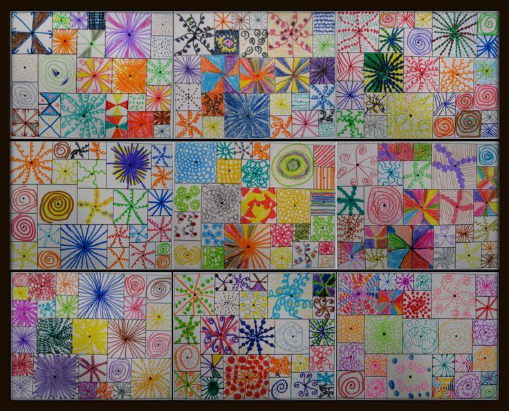 Petits carrés blancs. Partir d'un point au centre, travailler la spirale ou le flocon. Faire varier les couleurs. Rassembler sur un carton noire pour faire un collectif.