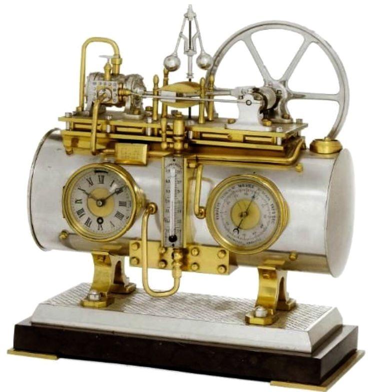 Steam-driven Clock/Thermometer/Barometer