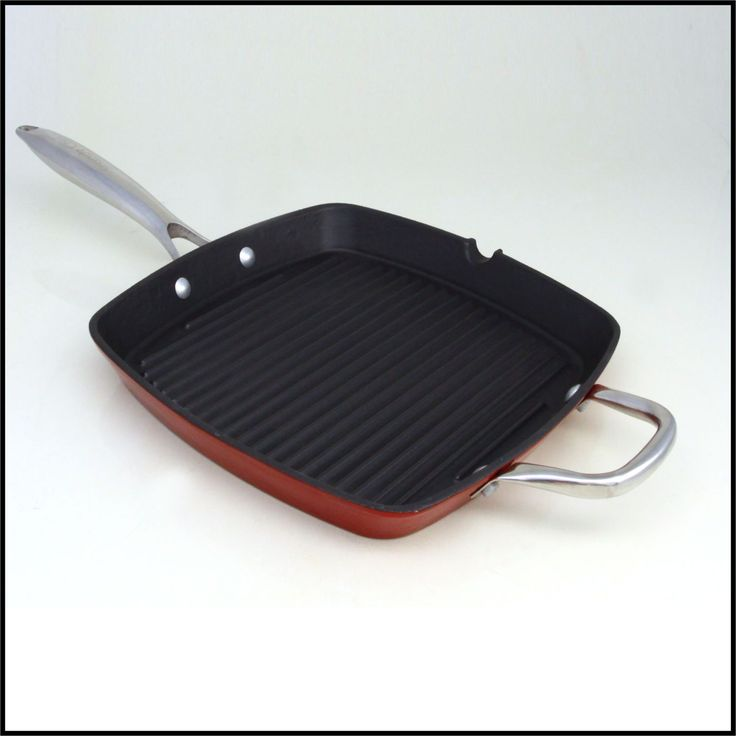 28cm Snappy Chef Cast Iron Grid Frying Pan  A stylish cast iron pan with a characteristic ribbed base, excellent for that perfectly grilled look and flavour. Suitable for any method of cooking, from grilling a delicious steak on the stove, to oven roasting a juicy leg of lamb.  Strong, durable and designed for easy and safe lifting, a perfect addition to any kitchen.