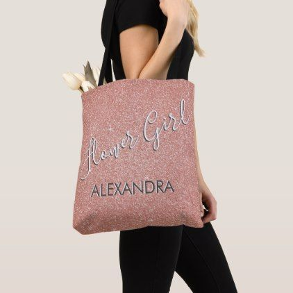 flower girl pink glitter bachelorette party bag individual