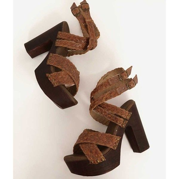 Roan Lynlee Sandal - Brown US 7-1/2 ($58) ❤ liked on Polyvore featuring shoes, sandals, brown, leather strap sandals, brown sandals, leather shoes, strap sandals and brown leather shoes