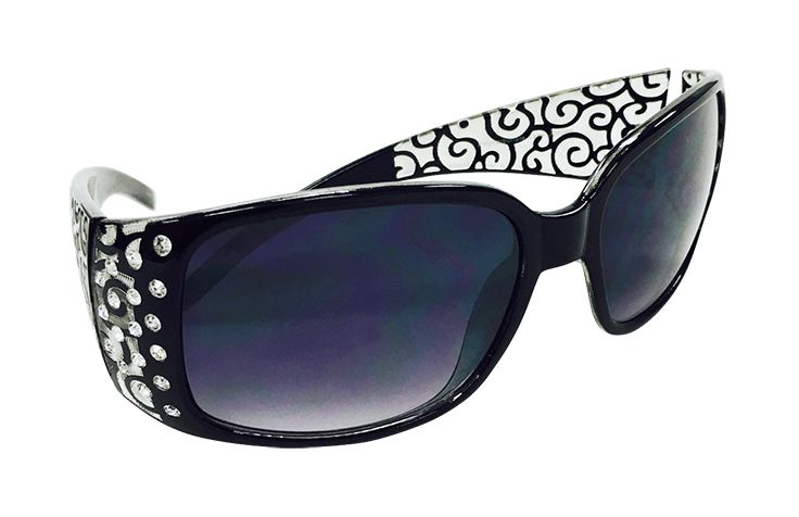 Black Oblong Sunglasses with Jeweled Temple and Printed Scrolled Bows $24.99 Shoe Rack 703-566-0429