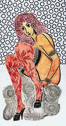 Ramona con medias caladas, 1975, xilocollage, 112,8 x 65 cm. Col. privada