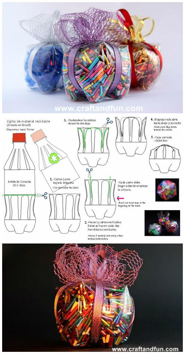 "With a plastic bottle you can make gift boxes and Christmas decorations, a detailed photo tutorial explains step by step how to do it [symple_box color=""gray"" fade_in=""false"" float=""center"" text_align=""left"" width=""100%""] Website: www.craftandfun.com ! [/symple_box]"