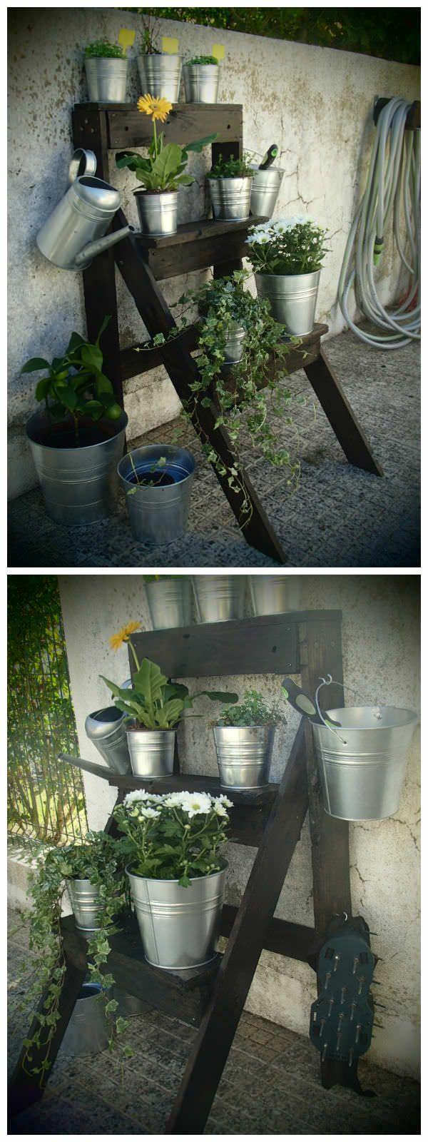 Garden Pallet Ladder #Garden, #Ladder, #PalletPlanter, #RecyclingWoodPallets