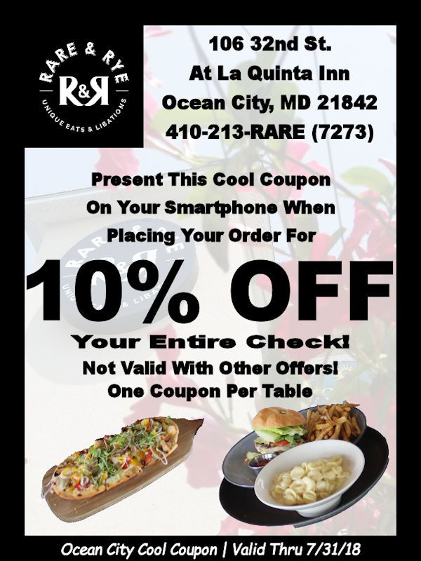 Welcome to Rare & Rye Restaurant, your newest #CoolCoupon restaurant.... #oceancitycool