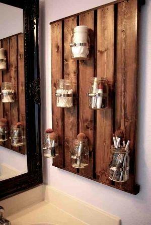 Diy bathroom organizer - stained wood and mason jars by Khandiie.   Downstairs bathroom