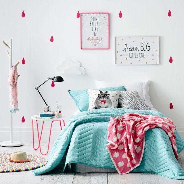 Chambre color e avec une literie turquoise et rose d co - Chambre turquoise et rose ...