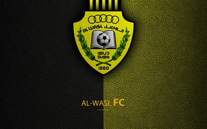 Download wallpapers Al-Wasl FC, 4K, logo, football club, leather texture, UAE League, Dubai, United Arab Emirates, football, Arabian Gulf League