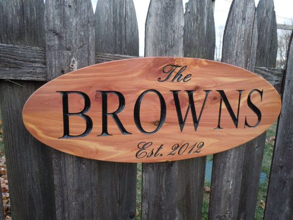 Outdoor Carved Wooden Family Last Name Oval Sign