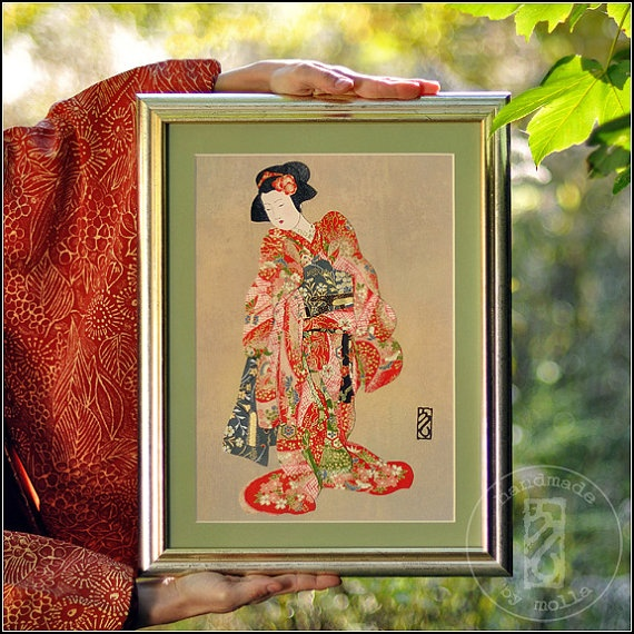 Shynessgeisha Portrait Oriental Home Decor Japanese By Moligami, $99.00